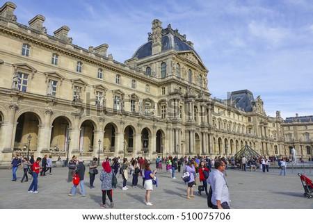 main tourist attraction paris louvre museum stock photo royalty