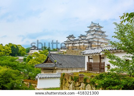 Main tower of the Himeji Castle, the white Heron castle, Japan. UNESCO world heritage site after restoration and reopening. - stock photo