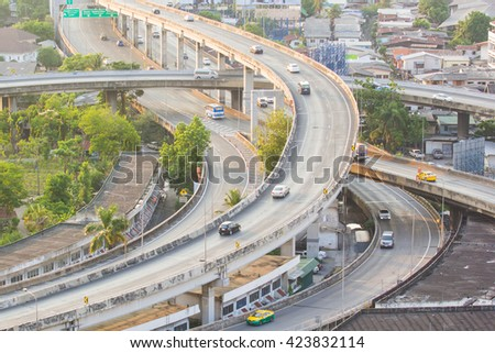 Main traffic highway. Road Overpass