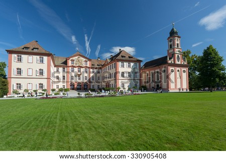 "MAINAU, GERMANY - SEPTEMBER 12, 2015: Island Mainau  a ""flowering island"" notable for its parks and gardens, and is palced in Boden Lake.  Baroque Castle of the Teutonic Order was built in 1739â??1746  - stock photo"