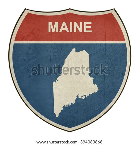 Maine American interstate highway road shield isolated on a white background. - stock photo
