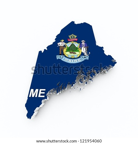 maine state flag on 3d map - stock photo