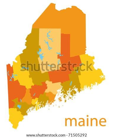 maine state map - stock photo