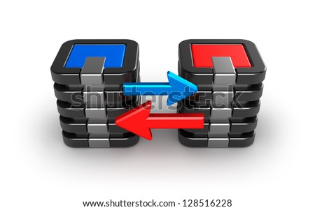 Mainframe servers exchanging information. - stock photo