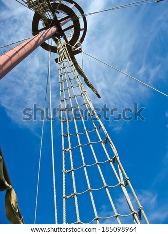 Mainmast of a Spanish galleon, with his scales and sails - stock photo