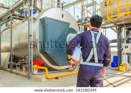 Maintenance Engineer Working Gas Boiler Heating Stock Photo (Royalty ...