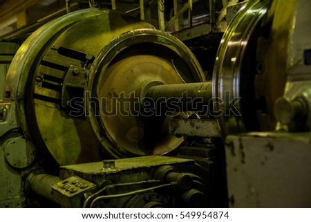 maintenance of the train wheels in a hangar