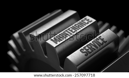 Maintenance Service on the Metal Gears on Black Background.  - stock photo