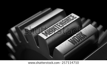 Maintenance Work on the Metal Gears on Black Background.  - stock photo