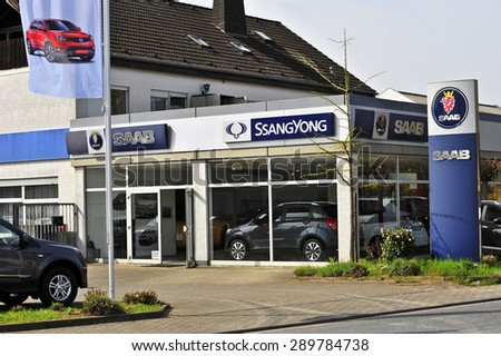 MAINZ,GERMANY-APRIL 16:SAAB automobile dealership store on April 16,2015 in Mainz, Germany. Saab Automobile AB is a Swedish premium car manufacturer headquartered in Trollhattan, Sweden. - stock photo