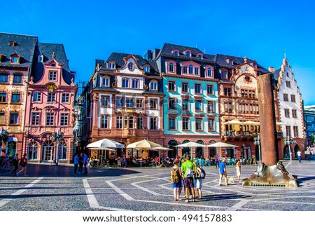 MAINZ, Germany - August 31, 2016 - people in market square, in the old town of Mainz,  Germany