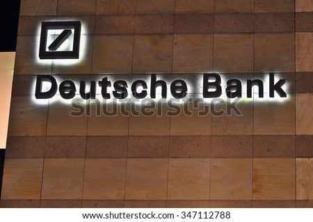 MAINZ,GERMANY- DEC 03:DEUTSCHE Bank on December 03,2015 in Mainz, Germany.Deutsche Bank AG is a German global banking and financial services company with its headquarters in Frankfurt.
