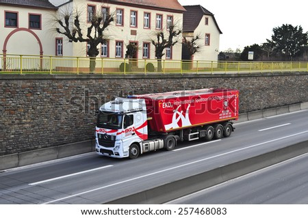MAINZ,GERMANY-FEB 20: mercedes benz truck on the highway on February 20,2015 in Mainz,Germany.MB is a German automobile manufacturer, a multinational division of the German manufacturer Daimler A
