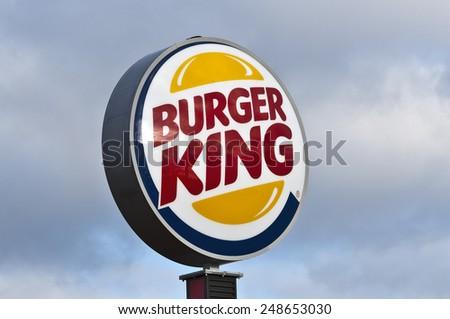 MAINZ,GERMANY-JAN 31:Burger King Restaurants logo by night on January 31,2015 in Mainz, Germany.Burger King, often abbreviated as BK, is a global chain of hamburger fast food restaurants,United States - stock photo