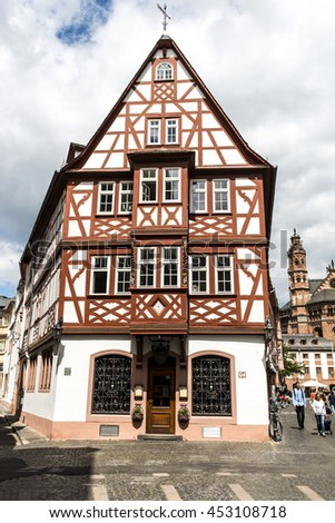 MAINZ, GERMANY - JULY 15, 2016: half timbered house in the old town of Mainz, Germany. - stock photo