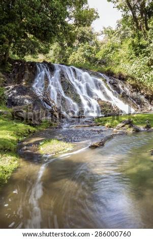 Maio Falls on Mt Meru in Tanzania in Africa. - stock photo