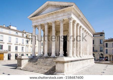 Maison Carree of Nimes - stock photo