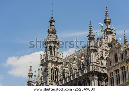 Maison du Roi (Kings House) or Broodhuis (Bread hall), one of the buildings counted as a UNESCO World Heritage Site in Brussels Grand Place in Belgium - stock photo