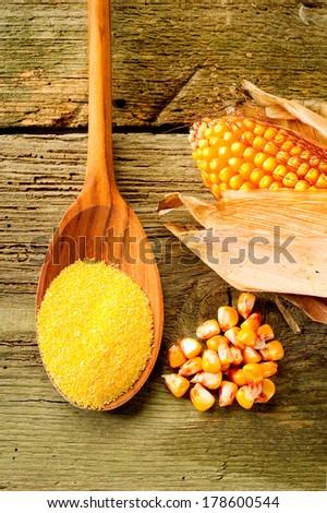 maize  flour over spoon   - stock photo