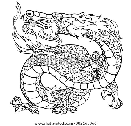 Majestic Asian Dragon Black Contour On White Background