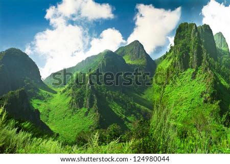 Majestic Beacon Rock in Columbia RIver Gorge - stock photo