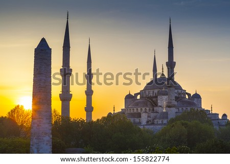 Majestic Blue Mosque (built 1616) in the vibrant city of Istanbul, Turkey. - stock photo