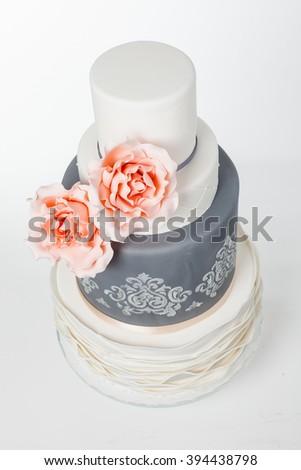 majestic cake in three levels - stock photo
