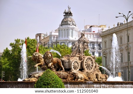 Majestic Cibeles Fountain on Plaza de Cibeles in Madrid, Spain - stock photo