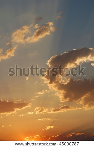 Majestic clouds during a sunset - stock photo