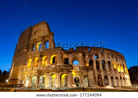 Majestic Coliseum photographed early in the morning at sunrise.Rome,Italy. - stock photo