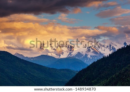 Majestic colorful sunset in the mountains landscape. Upper Svaneti, Georgia, Europe. Caucasus mountains. Beauty world.
