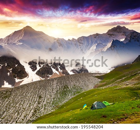 Majestic colorful sunset in the mountains landscape. Upper Svaneti, Georgia, Europe. Caucasus mountains. Beauty world. - stock photo