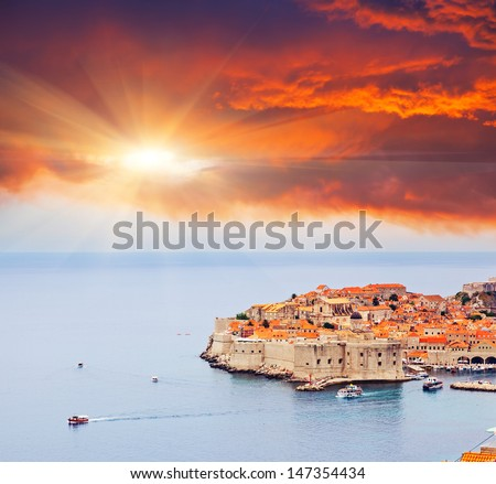 Majestic colorful sunset on old town of Dubrovnik, Croatia. Balkans, Adriatic sea, Europe. Beauty world. - stock photo