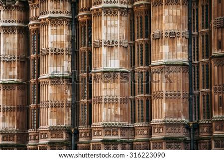 Majestic columns around King Henry VIII's chapel, Westminster Abbey, London, United Kingdom - stock photo