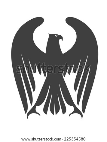 Majestic eagle or falcon with long wing feathers raised above its head, black and white silhouette isolated on white - stock photo