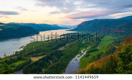 Majestic evening landscape at sunset overlooking a Columbia river gorge.