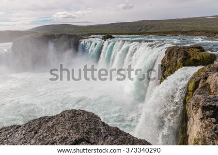 Majestic Godafoss - waterfall of the Gods - in Iceland - stock photo
