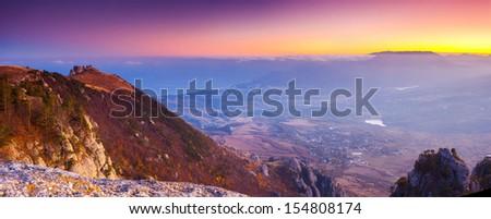Majestic morning mountain landscape. Crimea, Ukraine, Europe. Beauty world. - stock photo