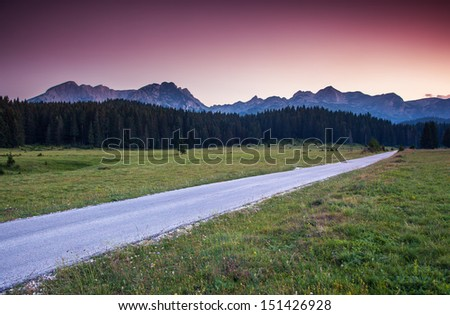 Majestic morning mountain landscape in the national park Durmitor in Montenegro, Balkans, Europe. Beauty world. - stock photo