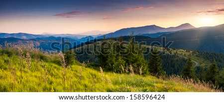 Majestic morning mountain landscape with colorful cloud. Dramatic sky. Carpathian, Ukraine, Europe. Beauty world.