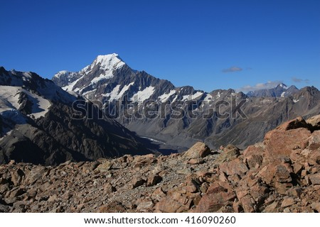 Majestic Mount Cook. View from the Sealy Tarns Track. - stock photo