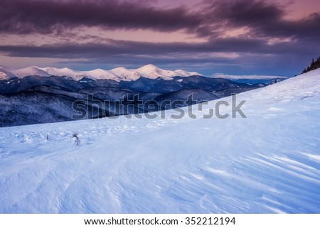 Majestic mountain glowing by sunlight. Dramatic and picturesque morning wintry scene. Place location Carpathian national park, Ukraine, Europe. Beauty world. Warm toning effect. Happy New Year! - stock photo