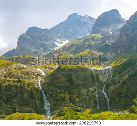 majestic mountain in a mist - stock photo