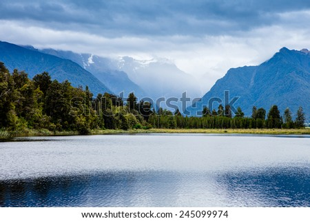 Majestic mountain lake - stock photo
