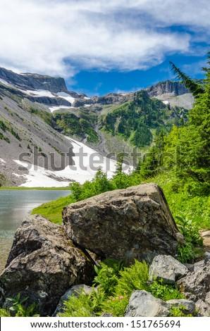 Majestic mountain lake in Bagley Lake Park, Mount Baker, Washington, USA. - stock photo