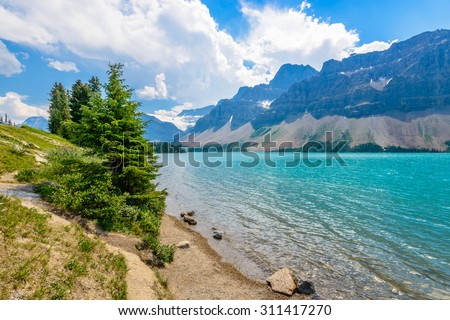 Majestic mountain lake in Canada. Bow Lake view in Jasper, Alberta, Canada. Rocky Mountains. - stock photo