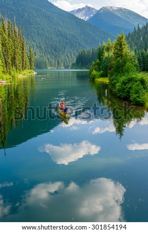 Majestic mountain lake in Canada. Lightning Lake in Manning Park in British Columbia. - stock photo