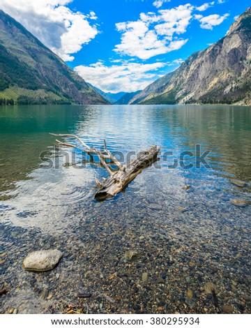 Majestic mountain lake in Canada. Seton Lake in British Columbia, Canada. - stock photo