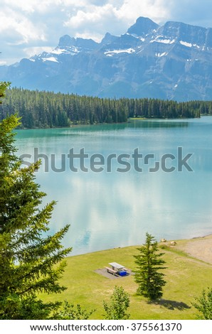 Majestic mountain lake in Canada. Two Jacks Lake. Banff. Alberta. - stock photo