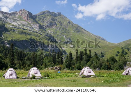 Majestic mountain landscapes of the Caucasian reserve - stock photo